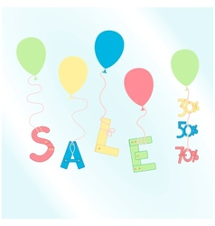 colorful balloons with sale word vector image