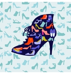 Colorful texture of fashion female shoes vector image vector image