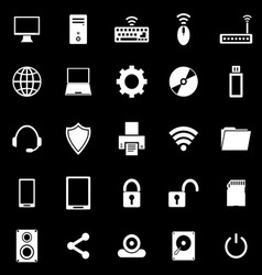 Computer icons on black background vector image vector image