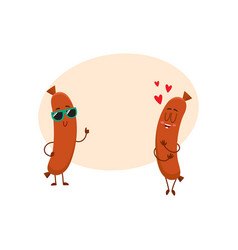Couple of sausage characters in sunglasses thumb vector