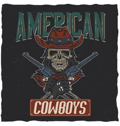 cowboy t-shirt label design vector image vector image