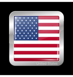 Flag of United States of America Square Icon vector image vector image