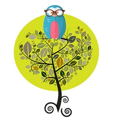 Flat design tree with owl isolated on white vector