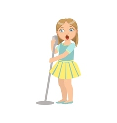 Girl in yellow skirt singing in karaoke vector