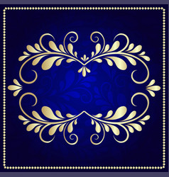 Gold pattern frame on a dark blue background vector