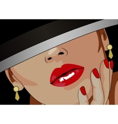 Lady with red lips vector image