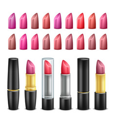 lipstick collection black gold and silver vector image