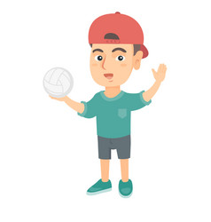 little caucasian boy holding a volleyball ball vector image