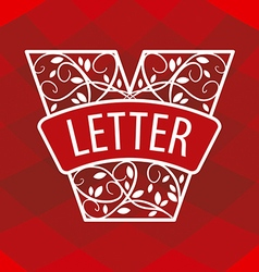Logo letter v with a vegetative ornament on a red vector