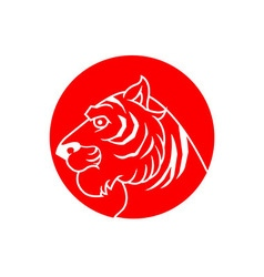 Red Stamp Tiger vector image