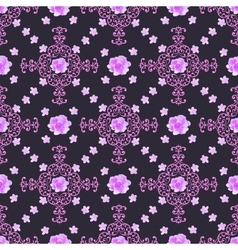 Seamless floral background isolated lilac roses vector