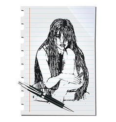 Sketch of a woman vector image vector image
