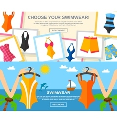 Swimwear flat banner set vector