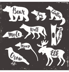 Wild animals isolated silhouettes vector image