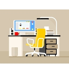 Work desk with a computer vector image