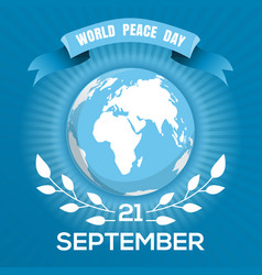 world peace day blue poster design vector image vector image