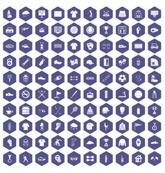 100 sport club icons hexagon purple vector