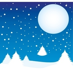 Winter landscape night moon vector