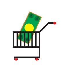 Modern flat icon with shadow money in trolley vector