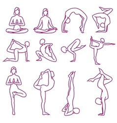Yoga poses silhouettes pilates fitness vector