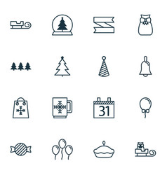 Set of 16 holiday icons includes toffee candy vector