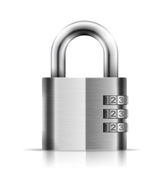 Steel closed isolated padlock vector
