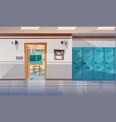 empty school corridor with lockers hall open door vector image