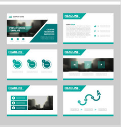 Green abstract presentation templates infographic vector