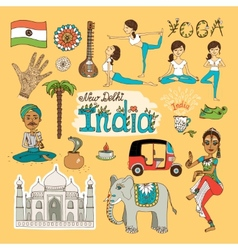 India Landmarks vector image