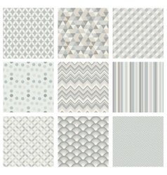 Seamless subtle geometric hipster background set vector