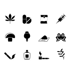 Silhouette different kind of drug icons vector