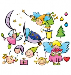 Set of cute angels vector