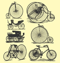 Vintage bicycle drawings vector