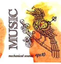 Steampunk bird vector