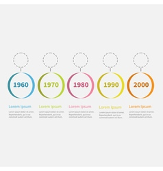 Timeline infographic colorful hanging circles text vector