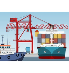 Container ship in port vector