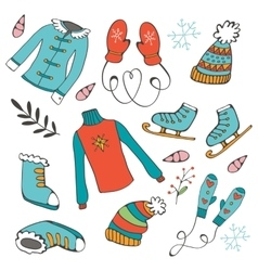 Colorful hand drawn winter collection vector image