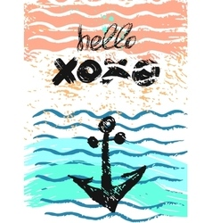 Hand drawn textured anchor card with vector