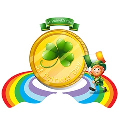 A big golden coin for St Patricks day vector image vector image