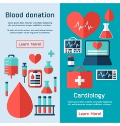 Blood donation icons flat style vector