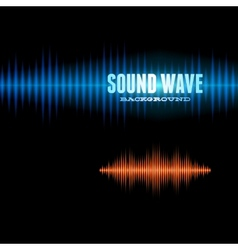 Blue and orange shiny sound waveform background vector image vector image