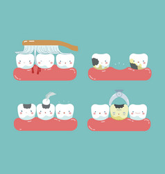 Brushing make hurt gum and teeth decayed teeth vector