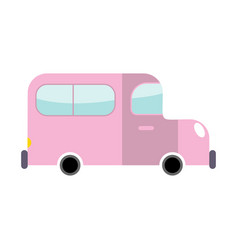 Car pink isolated transport on white background vector