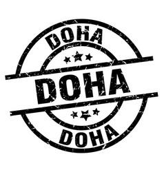 Doha black round grunge stamp vector