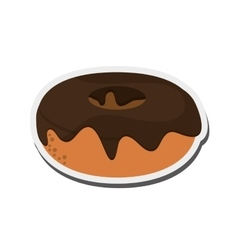 donut with chocolate cover icon vector image
