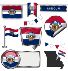 Glossy icons with Missourian flag vector image vector image