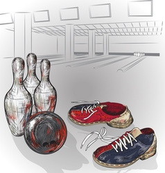 Hand Drawn Sketch of a Bowling Ball and Pins vector image