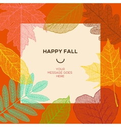Happy fall template with autumn leaves and simple vector