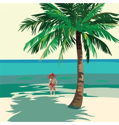 Little girl playing at the beach vector