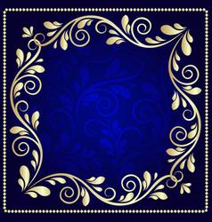Luxurious gold pattern frame on a dark blue vector